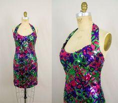 1970's Halter Mini Sequin Dress