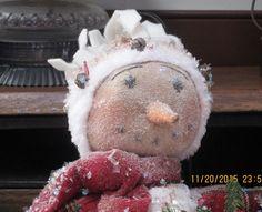 Primitive Christmas  Folk Art Snowman Doll by WillowCreekPrims on Etsy