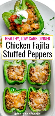 Chicken Stuffed Peppers Are Made With A Fajita Style Mixture That Combines Onions, Garlic, Tex Mex Spices And Chicken, Then Oven-Baked Until Soft And Cheesy Chicken Fajitas Mexican Healthy Low Carb Gluten-Free Cheesy Peppers Good Healthy Recipes, Healthy Meal Prep, Healthy Snacks, Healthy Things To Eat, Healthy Low Fat Meals, Healthy Recipes With Chicken, Healthy Lunch Ideas, Heathy Recipe, Best Healthy Dinner Recipes