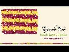 ▶ Punto fantasía tejido a crochet # 43: calado en V en dos colores - YouTube