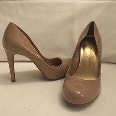 Jessica Simpson Pumps Classic nude patent leather pumps with rounded toe. Barely worn and in great condition! Jessica Simpson Shoes Heels