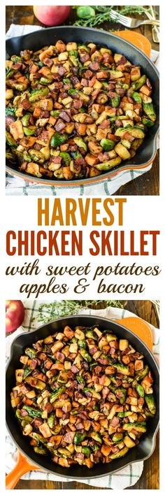 Harvest Chicken Skillet with Sweet Potatoes, Apples, Brussels Sprouts and Bacon - really good Apple Recipes Dinner, Recipes With Bacon Dinner, Easy Paleo Dinner Recipes, Easy Healthy Dinners, Delicious Recipes, Paleo Appetizers, Dinner With Sweet Potatoes, Pan Fried Sweet Potatoes, Sausage And Potatoes Skillet