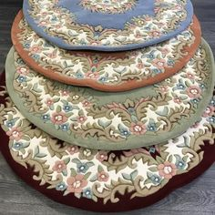 Floral Rugs, Circle Rug, Wool Rugs, Red Green, Blue, Types Of Rugs, Round Rugs, Shades Of Red, Shaggy