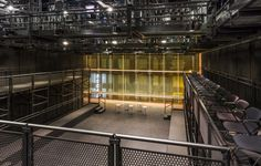 DePaul-University--Black Box Theatre - Along with the custom designed system for the Fullerton Stage, Staging Concepts also designed a flexible seating riser and mezzanine system that could be re-arranged into 8 different seating configurations for the Sondra & Denis Healy Black Box Theatre.