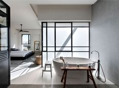 Master bedroom at L-Shaped House With Functional Interior By Neuman Hayner Architects, Tel Aviv, Israel. Bad Inspiration, Bathroom Inspiration, Bathroom Interior, Modern Bathroom, Zen Bathroom, Bedroom Modern, L Shaped House, Loft Stil, Decoracion Vintage Chic