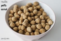 Homemade vanilla cereal puffs - vegan. And interesting. Didn't know you could make your own puffed cereal!