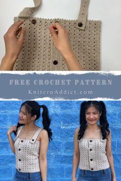 Débardeurs Au Crochet, Free Crochet, Easy Crochet Hat, Crochet Summer Dresses, Crochet Summer Tops, Crochet Tank Tops, Crochet Shirt, Top Pattern, Free Pattern