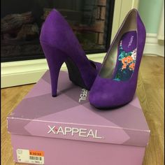 Purple heels Purple ,size 7 heels ,never worn . X Appeal Shoes Heels