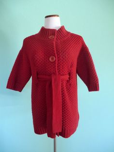 VINCE RED BRICK KNIT WOOL CASHMERE BELTED 1/2 SLEEVE CARDIGAN MEDIUM   #Vince #Cardigan