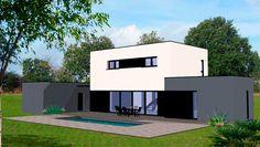 plan maison contemporaine piscine extérieure moderne étages