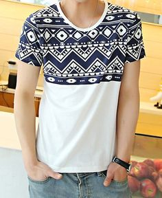 Slimming Trendy Round Neck Ethnic Geometric Waviness Print Short Sleeve Cotton T-shirt For Men