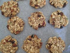 Sugarless, Eggless, Flourless, Dairyless Breakast Cookies:  1 &1/2 cups oats 2 large or 3 small bananas 1 cup Unsweetened applesauce/stewed apple  add a cup of craisins, raisins, seeds, or dried fruit & chopped pecans/walnuts   1tsp mixed spice or cinnamon  Mix dry ingredients Mash banana and mix with apple then add to dry mixture.  form into balls on a baking paper lined tray Press lightly with a fork to flatten   Bake in a medium oven for approx 20-25 mins until golden brown cool on rack..