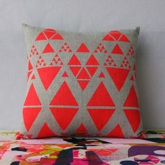 Image of 'Colour Collector' Cushion - Double Sided - Neon Red & Lime  studiodaneinteriors.com