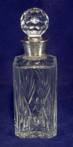 Royal Brierley Cut Glass Decanter With Silver Top Engraved John Mitchell 2004