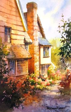 EUROPE - Cottage Lane - Kent England , Watercolor Painting of Kent England Cottages - Watercolor Paintings by Roland Lee Step By Step Watercolor, Pen And Watercolor, Step By Step Painting, Watercolor Landscape, Watercolor Painting Techniques, Watercolor Paintings, Watercolors, Watercolor Architecture, Kent England