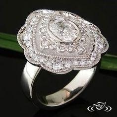 Palladium Antique Style Diamond Ring
