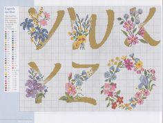 Λουλούδια και μονογράμματα σε κέντημα, σχέδια για κεντήματα, Flowers and monograms for embroidery, embroidery patterns,  Fleurs et monogrammes pour la broderie, motifs de broderie,