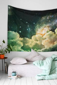 Magical Thinking Cosmos Tapestry - I want a tufted fabric headboard made out of this...