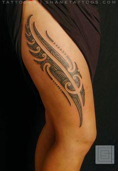 49 maori thigh tattoo