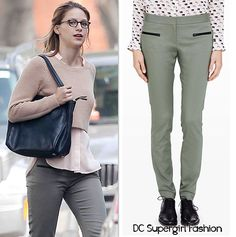 WHO: Melissa Benoist as Kara Danvers WHAT: Club Monaco Emily Pant in Grape Leaves - $139 WHERE: Supergirl | Pilot WORN WITH: Club Monaco Sweater