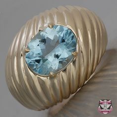 Signed Cartier Aquamarine Ring Estate Jewelry