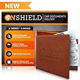 #7: Onshield Water Resistant Car Insurance Holder with Magnetic Closure  Paperwork Insurance Card Holder for Car  Car Document Organizer  Visor Organization (Brown)