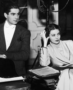 Tyrone Power and Loretta Young on the set of Cafe Metropole, 1937