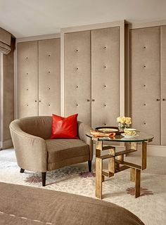 upholstered wardrobe doors - lovely in the bedroom, or hide a coffee counter/sink behind one of them
