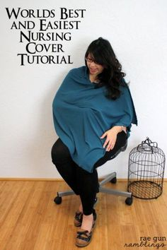 A nursing cover that doesn't come off or flash you to the world. Super quick and easy to make too! Tutorial at Rae Gun Ramblings Nursing Cover Pattern, Nursing Cover Up, Baby Sewing Projects, Sewing Tutorials, Crafty Projects, Sewing Ideas, Nursing Poncho, Breastfeeding Cover, Breastfeeding Fashion