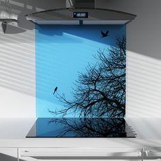 Love this kitchen splashback with tree and bird silhouette
