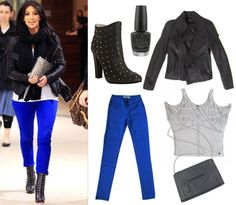 cobalt blue pants and black leather boots