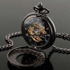 Regalo del reloj de bolsillo hueco Esqueleto cuarzo mecánico de los nuevos hombres de la vendimia