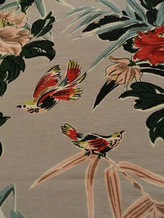 1950s Barkcloth Fabric Piece Beautiful Birds and by LeasAtticSpace, $25.00