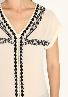 Cream Embroidery Top
