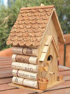 Wine cork birdhouse... something to do with saved wine corks