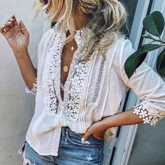 Plus Size Summer Women Cutout Blouse T Shirt Tunic Top Half Sleeves, Types Of Sleeves, Jersey Casual, Casual Shirt, Long Sleeve Tops, Long Sleeve Shirts, Plus Size Casual, Blouse Vintage, Plus Size Blouses