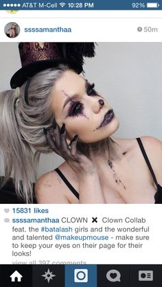 Creepy clown makeup but still feminine!! Loveee this.