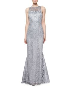 Sleeveless Jewel-Neck Lace Gown, Platinum by Shoshanna at Neiman Marcus.