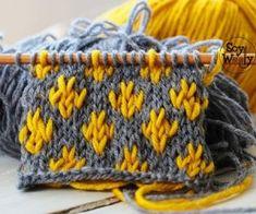 Introducción a Jacquard: Flor de Lis Point - Muestrario de Puntos a dos agujas - Baby Knitting Patterns, Knitting Charts, Knitting Stitches, Knitting Designs, Knitting Projects, Stitch Patterns, Crochet Patterns, Knit Beanie Pattern, Baby Sweater Knitting Pattern