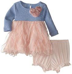 Amazon.com: Pippa & Julie Baby-Girls Newborn Pink and Blue Rosette Dress: Clothing