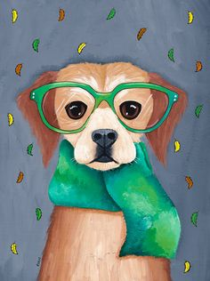 DOG Art Autumn Dog in a Scarf - Original Folk Art Portrait Painting Frida Art, Art Populaire, Whimsical Art, Dog Art, Pet Portraits, Painting Inspiration, Cute Art, Illustration Art, Art Prints