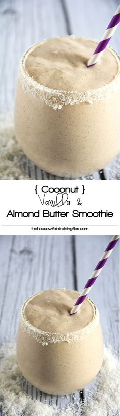 A velvety smoothie made with coconut milk vanilla almond butter and sweetened with dates! A velvety smoothie made with coconut milk vanilla almond butter and sweetened with dates! Smoothies Vegan, Juice Smoothie, Smoothie Drinks, Coffee Smoothie Recipes, Simple Smoothies, Whole 30 Smoothies, Paleo Smoothie Recipes, Vitamix Juice, Homemade Smoothies