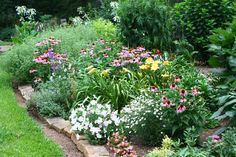 bed 5 & 6 Singing Oakes Gardens with cone flowers and daylilies.