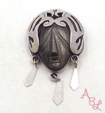 Taxco Pjb Sterling Silver Vintage 925 Mask Pin Obsidian Brooch (27.3g) - 494208