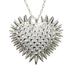 """""""Xirius"""" Spiked & Pavèd Heart Necklace in Crystal"""