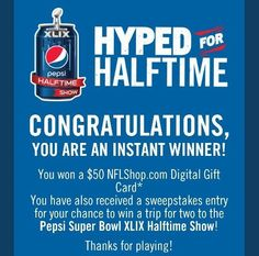 Pepsi Hyped for NFL Halftime Instant Win Game