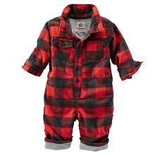 baby Bgosh Boys Red/Black Gingham Print Flannel Button Down Coverall