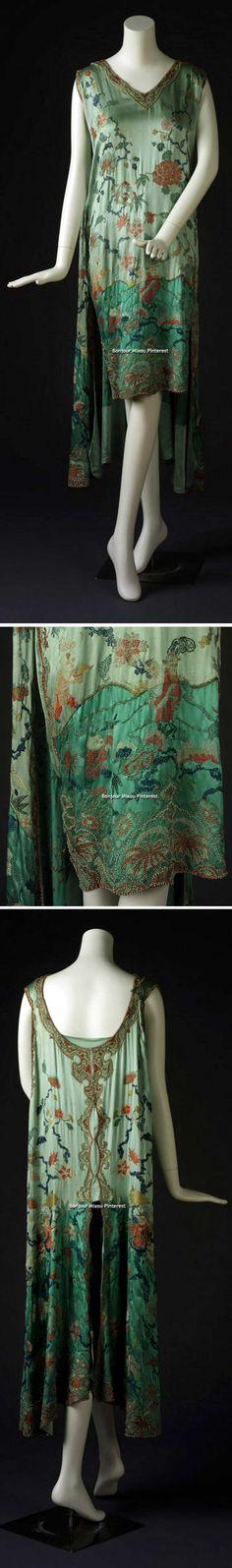 Evening dress, Eugenie et Juliette, ca. 1926-28. One-piece green satin, sleeveless dress. Embroidered back panel attached at the shoulder seam. Rhode Island School of Design Museum