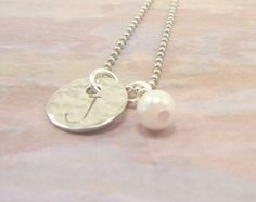 Hand Stamped Simple Initial Necklace  Dainty by BeeBaublesJewelry, $15.00
