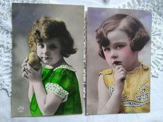 antique French tinted photo-postcards, little girls, pear DÉDÉ 1929 Photo Postcards, French Antiques, Vintage Photos, Pear, Little Girls, Dreadlocks, Best Deals, Hair Styles, Beauty